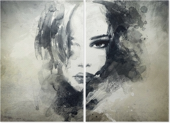 abstract woman portrait Diptych