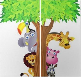 Animal hiding behind tree Diptych
