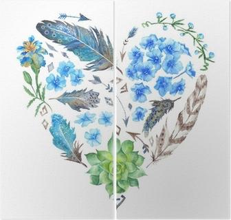 Boho Style Watercolor Heart Shape Diptych