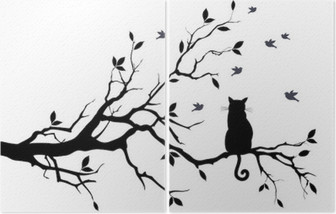 cat on a tree with birds, vector Diptych