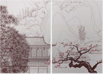 Chinese landscape Diptych