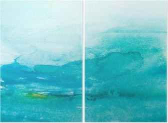 color strokes watercolor painting art Diptych