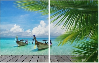 Deck with a view of a tropical sea Diptych