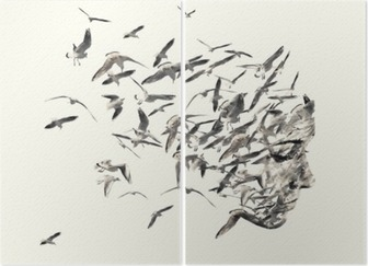 Double exposure portrait of young women and seagulls. Diptych