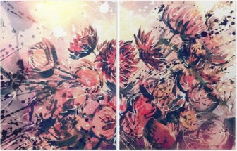 Drawing, watercolor bouquet of Straw flower Diptych
