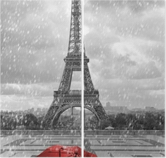 Eiffel tower in the rain. Black and white photo with red element Diptych