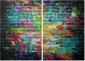 graffiti brick wall Diptych