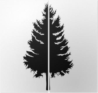 Hand Drawn Fir Tree Vector Illustration Silhouette Of Black Pine Tree
