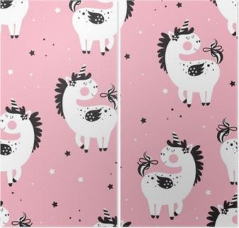 Kids seamless background with unicorns Diptych