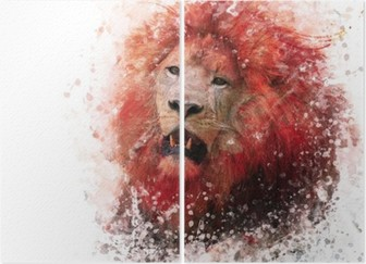 Lion Head watercolor Diptych