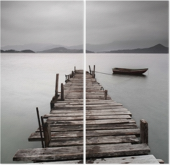 Looking over a pier and a boat, low saturation Diptych