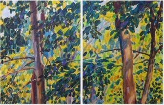 Oil painting landscape on canvas - autumn trees Diptych