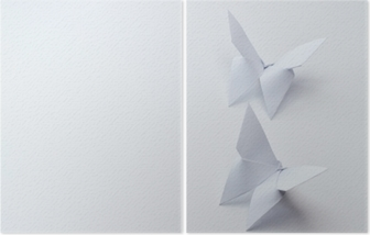 origami butterflies on white background Diptych