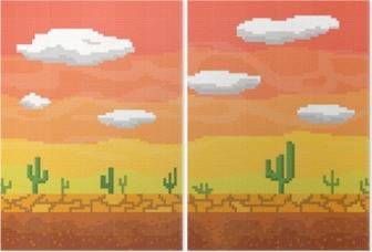 Pixel art desert seamless background. Diptych