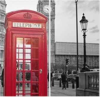 Red phone booth in London with the Big Ben in black and white Diptych