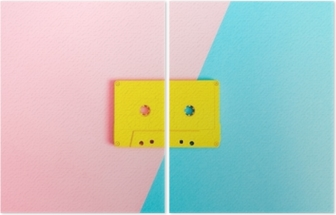Retro cassette tapes on bright background Diptych