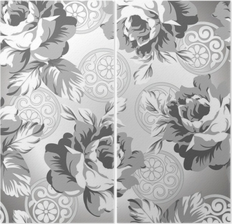 Seamless Silver Rose Flower Background Diptych