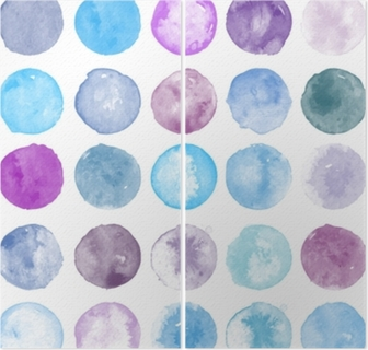 Set of watercolor shapes. Watercolors blobs. Set of colorful watercolor hand painted circle isolated on white. Illustration for artistic design. Round stains, blobs of purple, blue colors Diptych