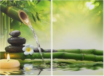 spa stones in garden with flow water Diptych