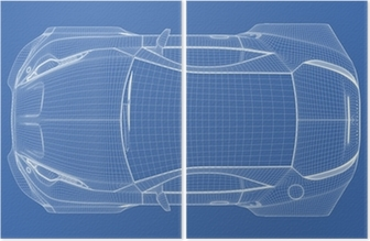 Sports car blueprint original car design wall mural pixers we sports car blueprint original car design wall mural pixers we live to change malvernweather Gallery