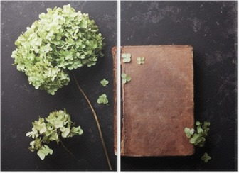 Still life with old book and dried flowers hydrangea on black vintage table top view. Flat lay styling. Diptych