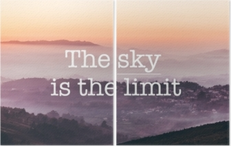 The sky is the limit, foggy mountains background Diptych