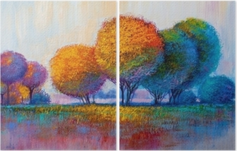 Trees, oil painting, artistic background Diptych