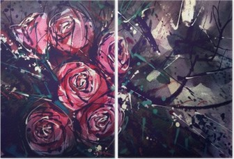 Watercolor painting style roses Abstract Art. Diptych