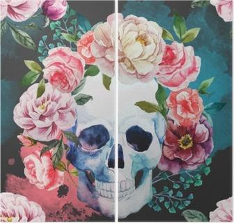 Watercolor skull Diptych