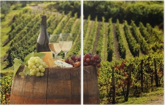 White wine with barell in vineyard, Chianti, Tuscany, Italy Diptych
