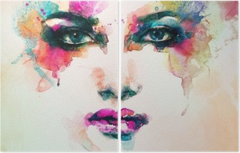 woman portrait .abstract watercolor .fashion background Diptych