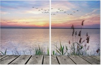 Wooden jetty at sunset Diptych