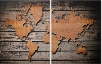 World map carving on wood plank. Sticker • Pixers® • We live to change