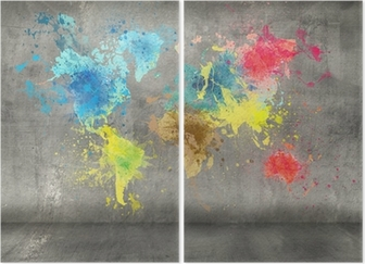 World map made of paint splashes on concrete wall background canvas world map made of paint splashes on concrete wall background canvas print pixers we live to change gumiabroncs Gallery