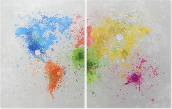 world map painting Diptych