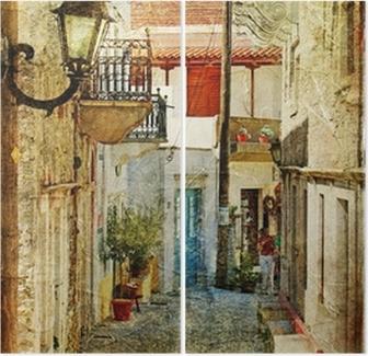 Diptychon Alten griechischen Straßen-künstlerisches Bild