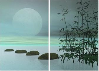 Diptychon Asian Schritte zum Mond - 3D render