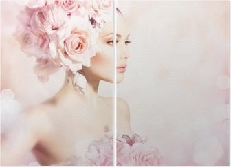 Diptychon Fashion Beauty Modell Mädchen mit Blumen Haar. Braut