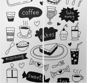 Leinwandbild Hand Gezeichnet Kaffee Icons Mit Kaffee Tee Kuchen