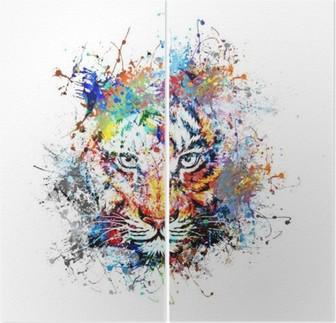Diptychon Hellen Hintergrund mit Tiger