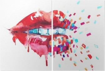 Diptychon Lippen