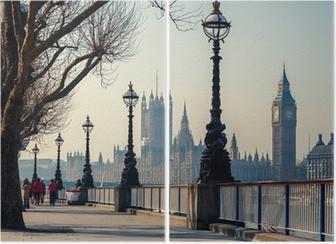 Diptychon Londons Promenade mit Blick auf den Big Ben und das Parlament