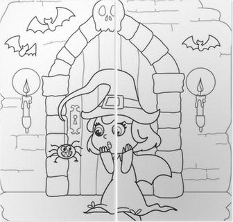Poster Malvorlage Halloween Kleine Hexe In Gruselige Haus Pixers