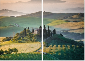 Diptychon Morgen in der Toskana, Landschaft und Berge