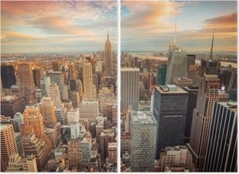 Diptychon New York City bei Sonnenuntergang mit Blick auf Manhattan