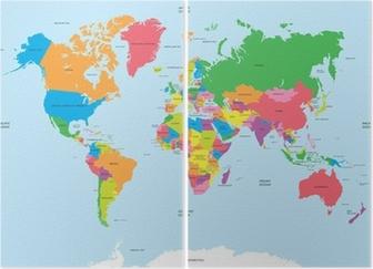 Diptychon Politische Karte der Welt Vektor