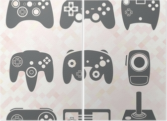 Diptychon Vektor-Set: Video Game Controller Silhouetten
