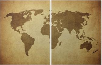 Diptychon Vintage Karte der Welt