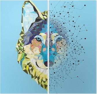 Diptychon Wolf Kopf in geometrische Muster mit Sternlinienvektor