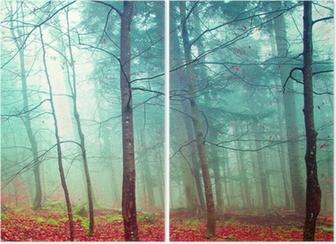 Diptych Fargerike mystiske høsttrær